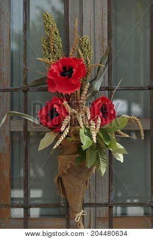 Handmade Bouquet With Poppy