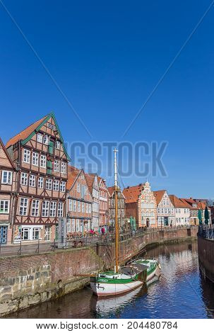 STADE, GERMANY - MARCH 27, 2017: Historical ship in the old harbor of Stade Germany