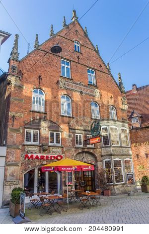 OLDENBURG, GERMANY - MARCH 27, 2017: Old building in the shopping street of Oldenburg, Germany