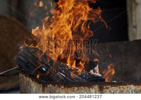 Fire And Flames In The Fireplace