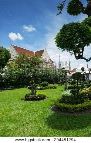 Garden in the Temple of the Dawn Wat Arun in Bangkok