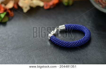 Bead Crochet Bracelet Dark Blue Color On A Dark Background