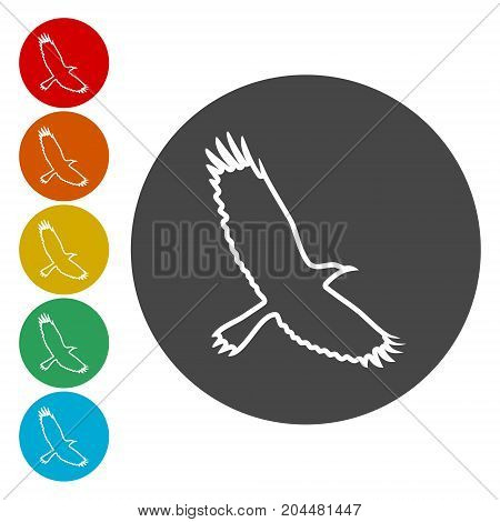 Crow (Raven) vector silhouette icons set, simple vector icon