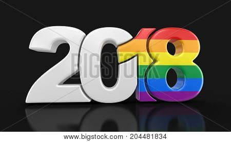 3d illustration. Gay Pride Color  New Year 2018. Image with clipping path.