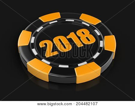 3d illustration. chip of casino 2018. Image with clipping path