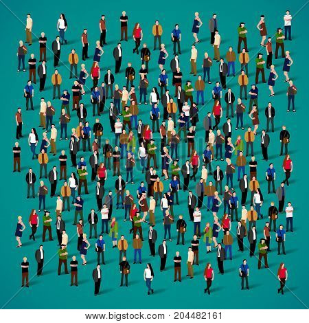Large group of people crowded on green background. Vector illustration.