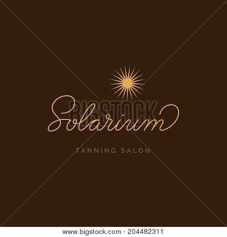 Solarium Tanning Salon Logo. Vector Signboard. Lettering logotype