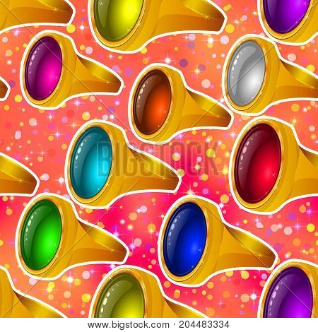 Seamless Background with Precious Gold Rings with Gems of Various Colors on Colorful Pattern, Tile Illustration for Jewelry Web Design. Eps10, Contains Transparencies. Vector
