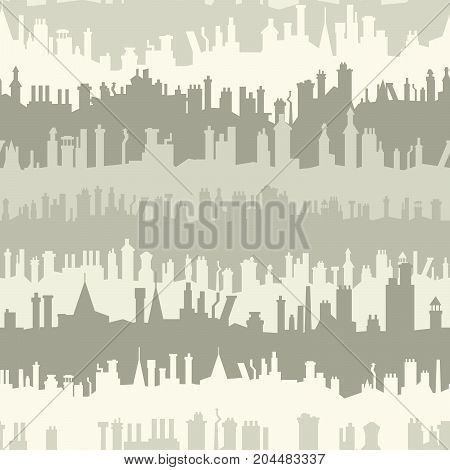 Seamless background of old historic European city roofs with numerous chimney flues.