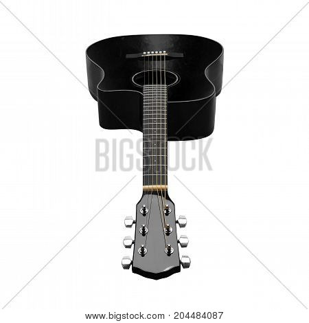 Musical instrument - Black acoustic guitar on a white background. Isolated