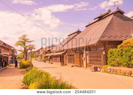 Unno-juku is a post town and dozens of old buildings have been beautifully preserved along a more than 250 meter long stretch for the travelers of Hokkoku Road in Tomi-shi Nagano Prefecture JAPAN.