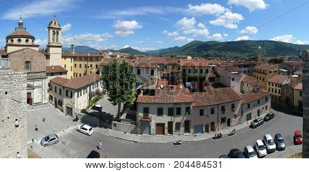 Prato, Italy, august 2, 2015: Panoramatic view of Prato from Emperor's Castle