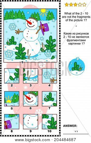 Christmas, winter or New Year visual logic puzzle with snowman: What of the 2 - 10 are not the fragments of the picture 1?  Answer included.