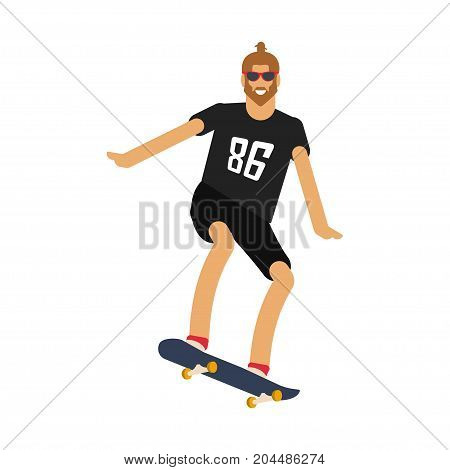 Hipster man with the beard on longboard skateboard. Skateboarding urban citizen character. Vector illustration eps 10
