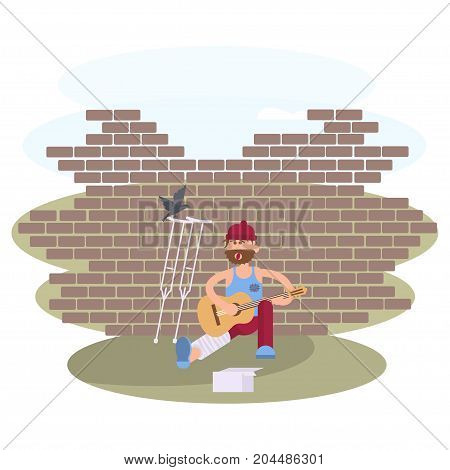 Strolling musician. Homeless man with Guitar. Vagrant Guitarist  with leg in a plaster cast in dirty rags is asking for help. Vector illustration eps 10