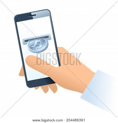A human hand holding a mobile phone. A coin slot with silver bitcoin is inserting at the screen. Money, banking, online payment, buying, cash concept. Vector flat illustration of hand, phone, bitcoin.