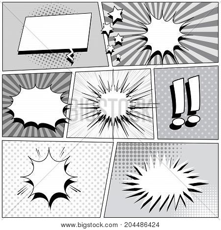 Comic book background with speech bubbles, exclamation points, rays, stars, sound, radial, dotted, halftone effects in gray colors. Vector illustration