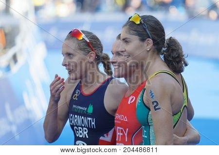 STOCKHOLM - AUG 26 2017: Triathlete medalists Ashleig Gentle and Flora Duffy after the finish in the Women's ITU World Triathlon series event August 26 2017 in Stockholm Sweden