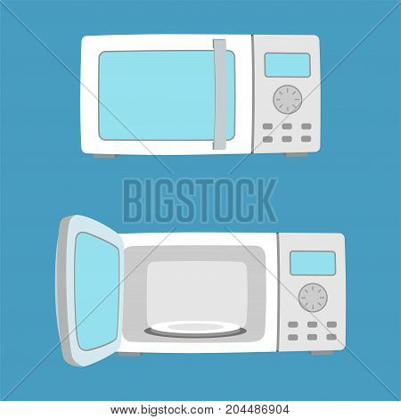 Microwave oven with open and closed door. MIcrowave oven in flat style. Vector illustration.