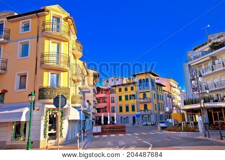 Town Of Grado Tourist Promenade Street Colorful Architecture View