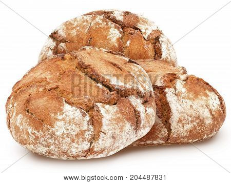 Three freshly baked loaves of traditional round rye bread isolated on white background. Design element for bakery product label, catalog print, web use.