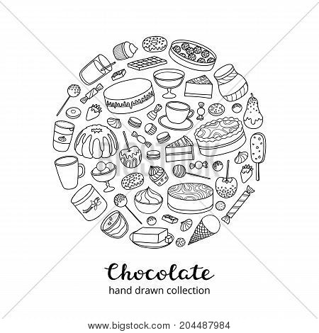 Outline doodle chocolate products, sweets, desserts, cakes, fruits composed in circle shape.