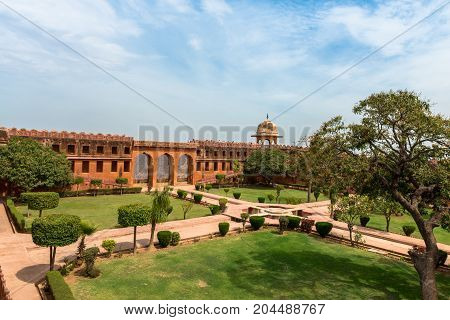 JAIPUR RAJASTHAN INDIA - MARCH 11 2016: Wide angle picture of the garden at Jaigarh Fort on the top of the mountains of Jaipur known as pink city in India.