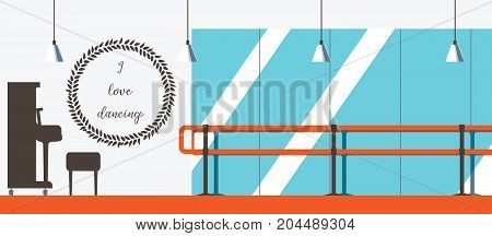 Vector interior in flat style. Ballet dancing studio with piano and dance barre