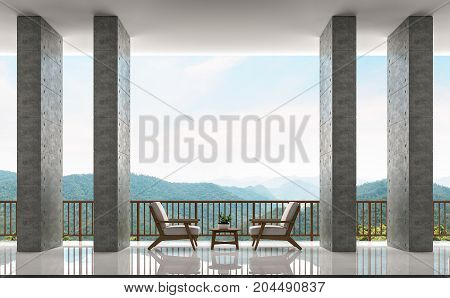 Modern loft balconies and living area with panoramic views of mountains 3d rendering image.There are polished concrete wall white floor and wooden railing. Have endless views on nature and mountains.
