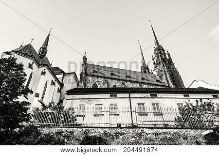 Cathedral of St. Peter and Paul Brno Moravia Czech republic. Religious architecture. Travel destination. Beautiful place. Black and white photo.