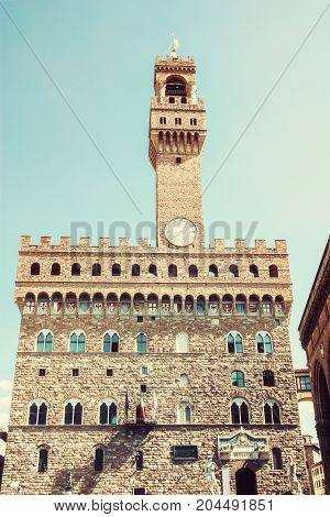 Palazzo Vecchio - Old Palace Florence Tuscany Italy. Cultural heritage. Travel destination. Photo filter.