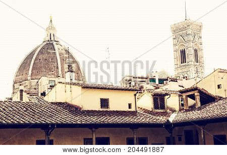 Cathedral Santa Maria del Fiore and Giotto's campanile in Florence Tuscany Italy. Photo filter. Cultural heritage.