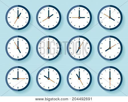 Clock icon set in flat style, timer on blue background. Twelve o'clock. Business watch. Vector design element for you project