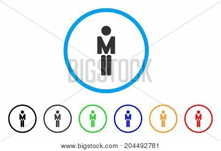 Man icon. Vector illustration style is a flat iconic man gray rounded symbol inside light blue circle with black, gray, green, blue, red, orange color additional versions.