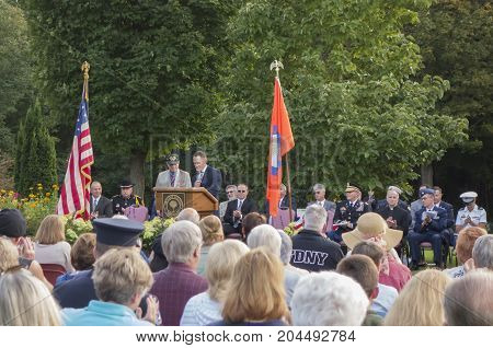 MONTGOMERY NEW YORK - SEPTEMBER 11 2017. Senator Bill Larkin and Christian Farrell speak during the Patriots Day ceremony held at the Orange County Arboretum in Montgomery NY.