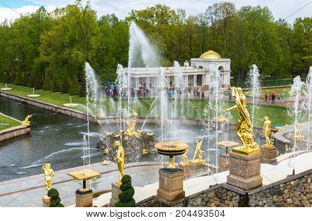 Peterhof, Russia - June 03. 2017. View of the large cascade fountain in Peterhof