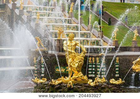 Peterhof, Russia - June 03. 2017. View of Samsons statue in a large cascade fountain