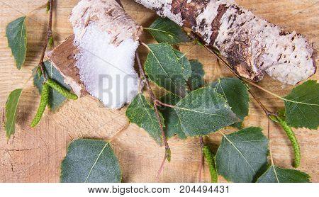 Xylitol - Sugar Substitute. Birch Sugar On Wooden Background.