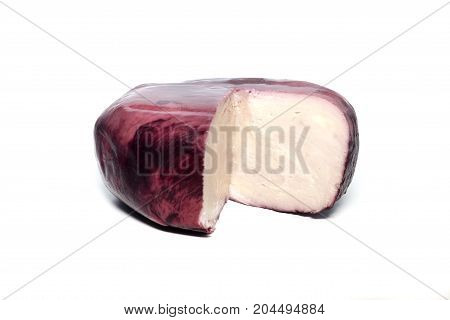 Telavi cheese aged in wine on a white background