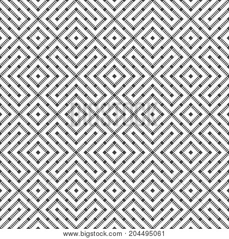 Seamless pattern. Abstract geometric background. Modern texture with dashed lines. Regularly repeating geometrical ornament with rhombusesm diamonds crosses. Vector element of graphical design