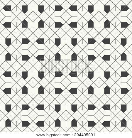 Vector seamless pattern. Modern stylish texture with outline geometric shapes. Regularly repeating geometrical thin line grid with rhombuses hexagons triangles. Linear mosaic