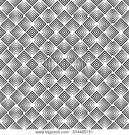 Vector seamless pattern. Art deco background. Modern geometric texture with regularly repeating geometrical tiles with rhombuses diamonds corners strips