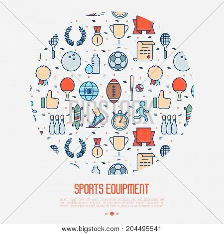 Sport equipment concept in circle with thin line sport and winning games icons. Vector illustration for banner, web page, print media.
