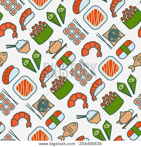 Japanese food seamless pattern with thin line icons of sushi, noodles, tea, rolls, shrimp, fish, sake. Vector illustration for banner, web page or print media.