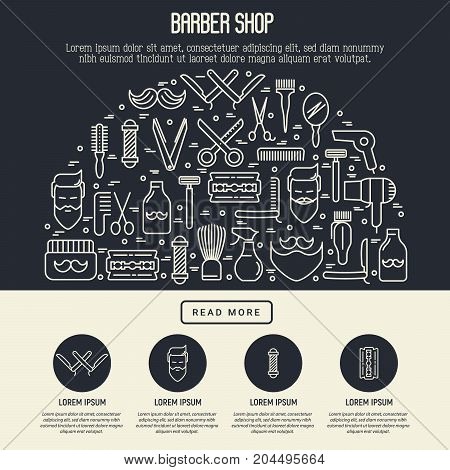 Barber shop concept in half circle with thin line icons of shaving accessories and place for text inside. Vector illustration for web page, banner, print media.