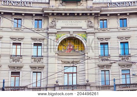 Milan, Italy - May 03, 2017: The facade of house of old architecture at Italy, Europe, Milan, Italy on May 03, 2017