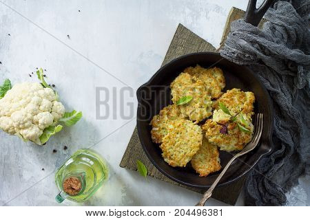 Vegetable Pancakes On Stone Or Slate Background. Fried Vegetarian Cutlets Or Pancakes. The Concept O