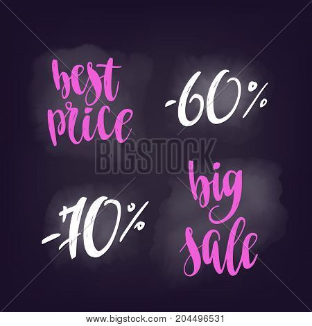 Vector lettering for design web banners, posters or social media contests on chalkboard dark background.