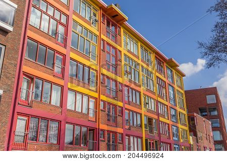 Colorful Apartment Building In A Former Warehouse In Groningen
