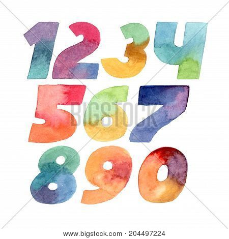 Large raster illustration with colorful gradient numbers sequence from 1 to 0 hand drawn digits isolated on white background. Each number drawn with brush and gradient watercolor ink.